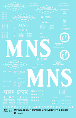K4 O Decals Minneapolis and St Louis 40 Ft Steel Boxcar White MSTL