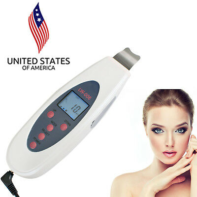 US Mini Ultrasonic LCD Digital Facial Skin Care Scrubber Peeling Cleaner Machine