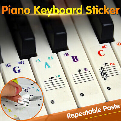 Removable Piano Keyboard Stickers for 88/61/49/54/37 Keys Piano Note Transparent