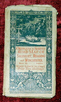 "Ordnance Survey 1/2"" Linen Backed Layers Map - Salisbury,Reading,Winchester 1914"