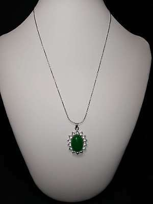 Exquisite Silver Inlaid Natural Jade Necklace & Pendant a708
