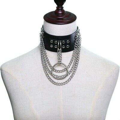 Punk Chokers Collar Round Leather Bondage Gothic Cage Harness Statement Necklace