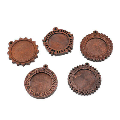 Bezel Wooden Antique Cameo Cabochon Tray Pendant DIY Necklace Keychain Crafts