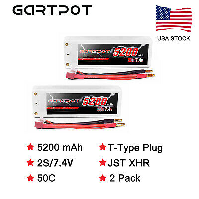2X GARTPOT 5200mAh 50C 7.4V 2S LiPo Battery Hardcase Deans For RC Car Truck Boat