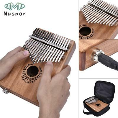 17 Keys EQ Kalimba Mahogany Thumb Piano Link Speaker Electric Pickup Bag + VGDD