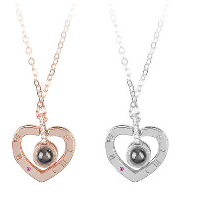 100 Languages I Love You Light Projection Pendant Necklace Female Lady Jewelry