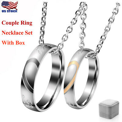 Couple Love Heart Stainless Steel Promise Engagement Ring Wedding Band Set Kit