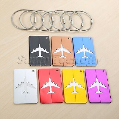 Metal Travel Holiday Baggage Suitcase Luggage Tags Labels ID Name Address 7pcs