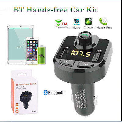 BT36 Bluetooth Voiture Transmetteur FM Kit MP3 Sans fil USB Chargeur Main Libre#