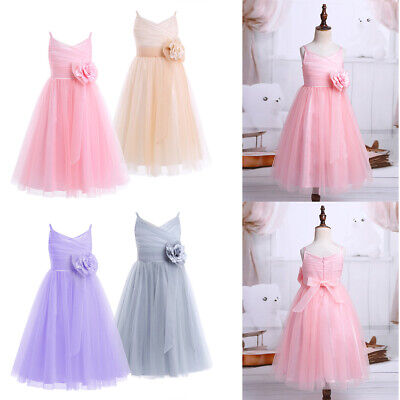 Flower Girl Dress Princess Party Wedding Bridesmaid Birthday Tulle Mesh Dresses