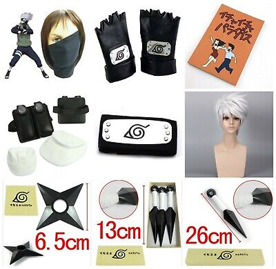 Naruto Kakashi Hatake Cosplay Leaf Headband Kunai Face Mask Gloves Wig Ichi Book