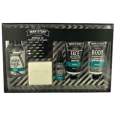 Mens Toiletry Set Grooming Kit Charcoal Face Wash Beard Oil Body Wash Soap
