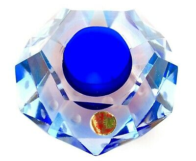 Amazing Murano Sommerso Submerged Faceted Prism Bowl Blue Pink Artic Blue Combo