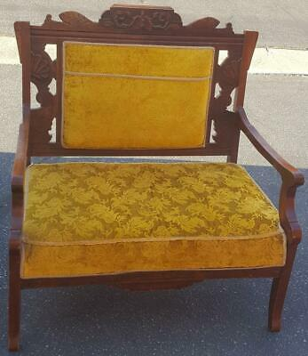 Gorgeous Antique Settee - Upholstered Seat and Back - GDC - EXQUISITE DETAIL