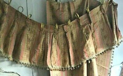 Vintage French Chateau Curtain Pelmet Pink Peach & Yellow Brocade Passemanterie