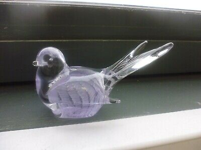 Murano Glass Bird Paperweight - Clear With Light Mauve Inner      (Tr)