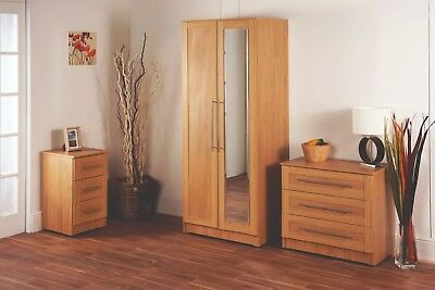 Roma Rimini Oak Wardrobe + Drawers Set Fully Ready Assembled Bedroom Furniture