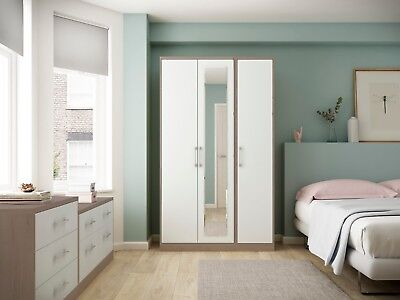 Melrose Oak White High Gloss Wardrobe Set Ready Assembled Bedroom Furniture UK