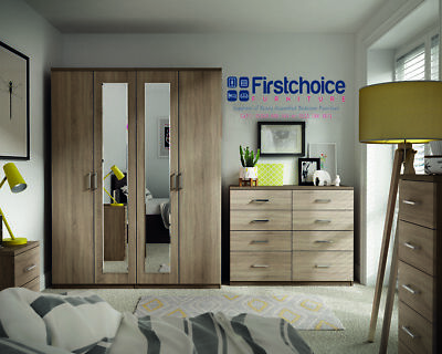 Medina Coco Wenge Wardrobe + Drawers Set Fully Ready Assembled Bedroom Furniture