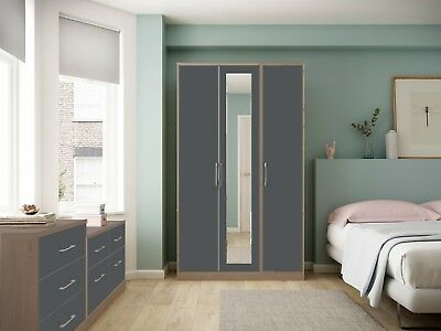Melrose Oak Grey High Gloss Wardrobe Set Fully Ready Assembled Bedroom Furniture