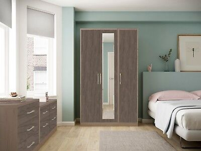 Melrose Dark Oak Wardrobe + Drawers Set Fully Ready Assembled Bedroom Furniture