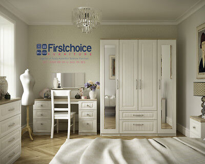 Portobello Ivory Wardrobe + Drawers Set Fully Ready Assembled Bedroom Furniture