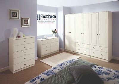 Chester Ivory Wardrobe Chest Of Drawers Set Ready Assembled Bedroom Furniture UK