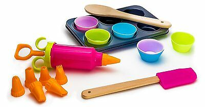 New 16 Piece Deluxe Bakeware Set Kids Beginners Spatula Silicone Cupcake Liners