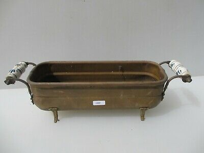 Vintage French Brass Trough Tub Planter Plant Pot Antique Old Urn Ceramic Handle
