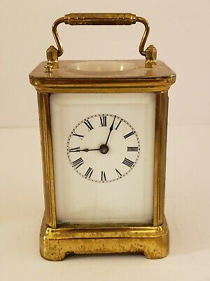 Antique 1891 WATERBURY Clock Co. Victorian Brass & Glass Repeater Carriage Clock