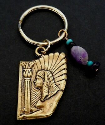 Sphinx with Lotus Column  - Key Chain with Gen. Stones in Amy and Adventuring