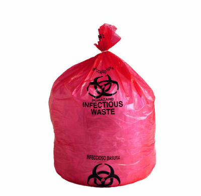 """500 Biohazard Red Trash Bags 24"""" x 24"""" 10 GALLON Infectious Waste Liners 1.5 Mil"""