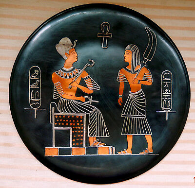 """Egyptain Plate of Pharaoh on Throne Being Fanned by a man servant  9.5"""" diameter"""