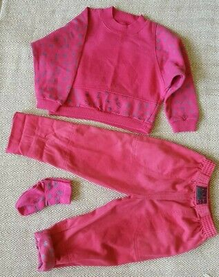 Vintage 90s Tykes Mothercare Childs jumper jeans socks pink green geometric