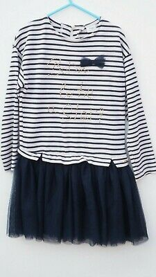 Gorgeous MAYORAL Girl's Navy/Cream Striped Dress with Organza/Net Skirt 8 YEARS