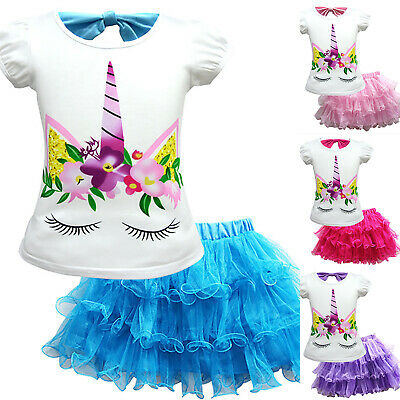 Girls Kids Cartoon Dress Outfit Top T-shirt & Skirt Set Short Sleeved Age 2-9