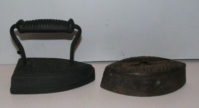 Vintage Chattanooga Cast Iron Door Stop And Antique Sad Iron
