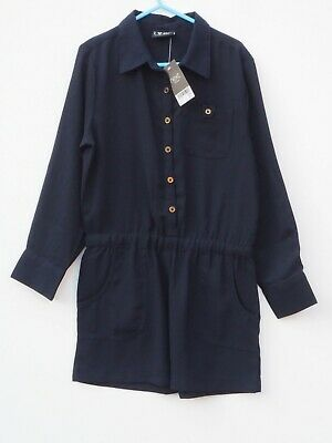 BNWT NEXT Girl's Navy Blue Long Sleeve Playsuit age 7 Years