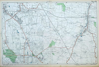 LONDON - Antique Map / Street Plan - BROMLEY, ORPINGTON, KESTON - BACON, 1910