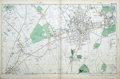 Original Antique Map of LONDON, EWELL, SUTTON, CHEAM, Bacon 1904