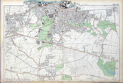 LONDON - Antique Map / Street Plan, WOOLWICH, ELTHAM, WELLING - BACON, 1910