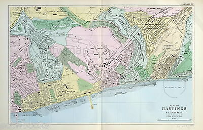 HASTINGS & ST LEONARDS  - Original Antique Map / Street Plan - BACON , 1907