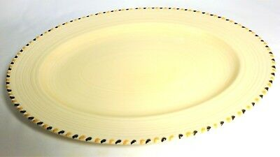 "Crown Ducal Art Deco ""Cotswold Stitch""  Oval Plate Yellow/Black Charlotte Rhead"