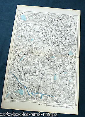 "LONDON, 1900 - CAMDEN, HOLLOWAY, BARNSBURY - Large 9"" Scale Antique Map"