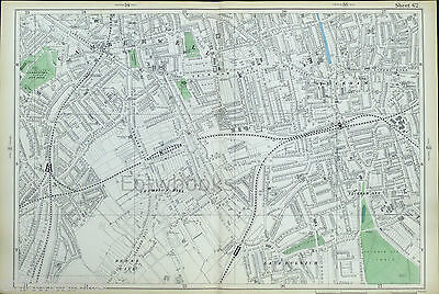 "LONDON, 1904 - CAMBERWELL, PECKHAM, HERNE HILL Original Antique Map (9"" / mile)"
