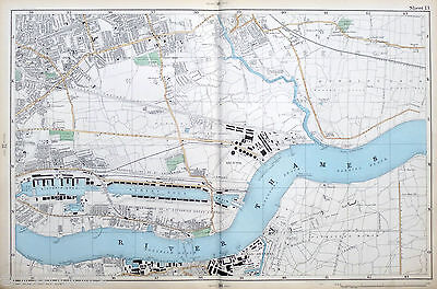 Original Antique Map of LONDON, EAST HAM, BARKING, WOOLWICH & THE DOCKS, 1904.