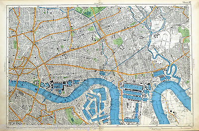 LONDON, 1912 - THE CITY, EAST END, DOCKS,  & ISLE OF DOGS - Antique Map.