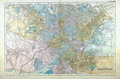 BIRMINGHAM - Original Large Antique City Plan / Street Map -  G.W.BACON  - 1898.
