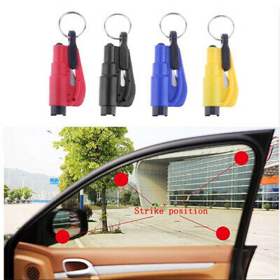 Blue Llavero Keyring Car Escape Rescue Tool - Seat Belt Cutter + Window Hammer
