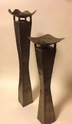 Mid 20th Century Brutalist Modernist Column Candle Holders Large Bowl Metal